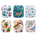 Babygoal Reusable Pocket Cloth Diapers for Baby Girls, 6pcs Washable Diapers+6pcs Microfiber Inserts+4pcs Bamboo Inserts 6FG21