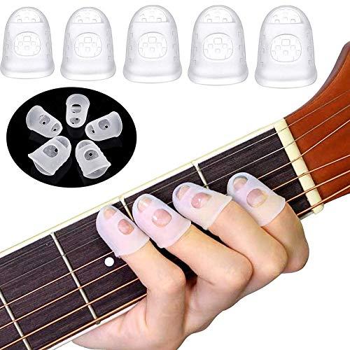 Sunshine smile silikon Gitarren fingerschutz,Gitarre fingerspitzen,fingerschutzkappen,Gitarren fingertip Protektoren,fingerschutz für Ukulele,fingerschutz für bass, 5 Größen 40 Stücke(A)