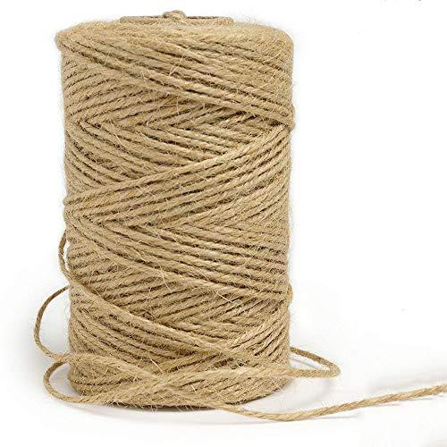 100M Cuerda de Yute,Natural Yute Twine, Cuerda artesanal,Cuerda de embalaje,Cuerda de jardinería Bricolaje,para jardinería Fotos, Regalos, Manualidades
