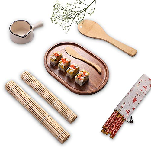 Sushi Making Kit, 10 Pcs Beginner Tools Set with Sushi Serving Plate Japanese Style, Kitchen Equipment for Making Nori Rice Roll, Bamboo Sushi Roller Kit