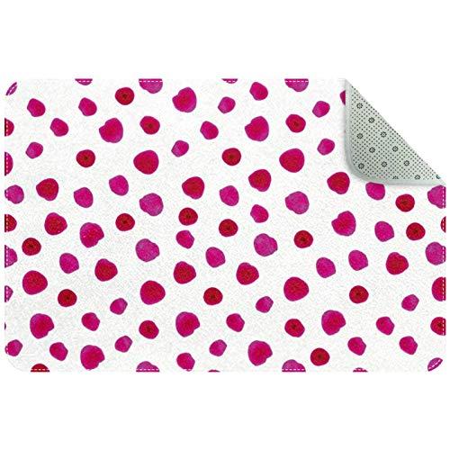 Yoliveya Alfombra suave para el suelo, color rosa, lunares rojos, absorbentes, antideslizantes, para entrada en casa, oficina, 60 x 40 cm