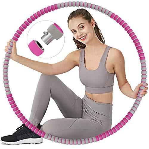 TvvaaFog Hula Reifen Hoop Fitness Erwachsene Hoop Mit Massage-Design, Stabiler Edelstahlkern mit Premium Schaumstoff, Komfortabler und Längeres Leben, 1,2 kg zum Abnehmen (Rose-Grau)