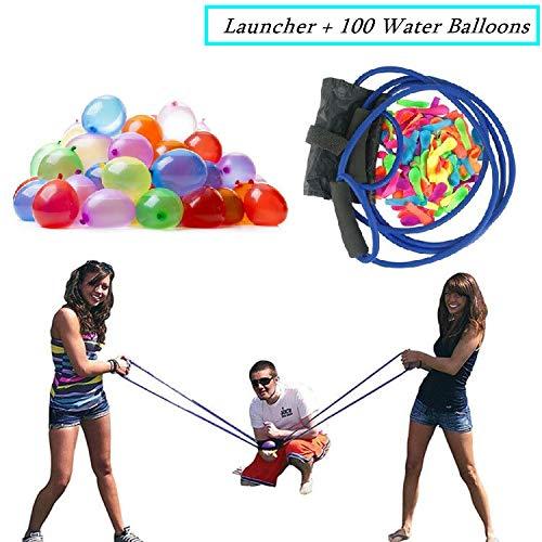 PAKASEPT Wasserbomben mit 100 Ballons, Wasserballon Schleuder Zwille Steinschleuder 400 Meter Lange Reichweite,Werfer Wasserkanonen großer Schleuder Gruppenspiele,Wasserspiele Spielzeug für Draußen