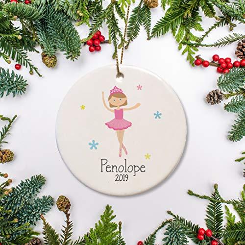 DKISEE Ballerina Kerstmis Keramiek Ornament Kies Je Haar, Oog En Kostuum Kleur Gepersonaliseerde Keramiek Ornament Gift Perfect Keepsake Gift Voor Kind 3.1 inch