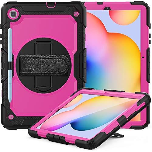 Tablet PC Case para Samsung Galaxy Tab S6 Lite P610 Funda protectora de silicona colorida a prueba de golpes a prueba de choques con soporte y correa de hombro y correa de mano y ranura de la pluma Ta