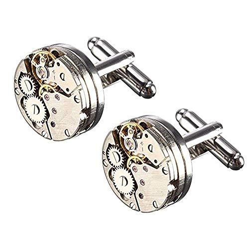 CLQ Boutons De Manchette, Horloge Vintage De Steampunk, Boutons De Manchette Mécanique (1 Paire), avec Boîte De Présentation, Chemise pour Homme sans Mouvement De Mot, Boutons De Manchette