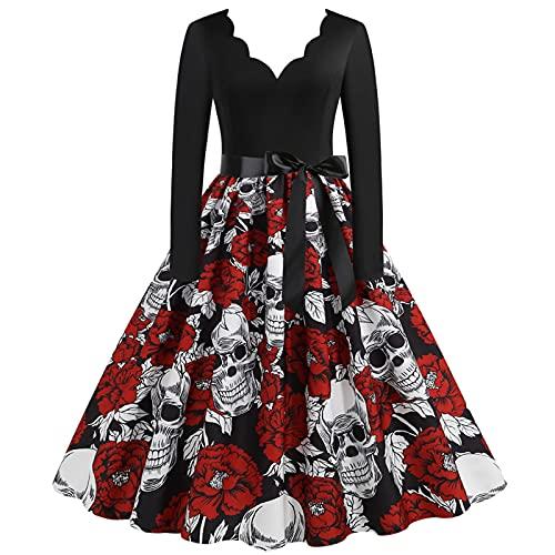 Briskorry Vestido de noche de manga larga para mujer, retro, bonito vestido de noche con cinturn, diseo de crneo impreso, vestido de fiesta, vestido de encaje de bruja, rojo, M