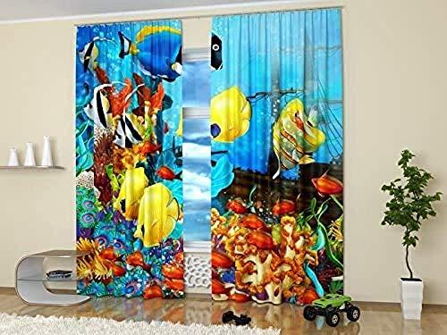 Waple Verdunkelungs-vorhänge Öse für Wohnzimmer Vorhang für Meereslebewesen, verschiedene Fische im Meer 220*215cm Vorhänge Polyester Verdunkelungsvorhang für Schlafzimmer Kinderzimmer Wohnzimmer Deko