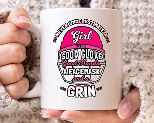 Never Underestimate A Girl With Good Glove Facemask And Grin Mug Coffee Cup Present For Softball Player I Love Softball Idea 11 Oz Ceramic Coffee Mug S2JBNM