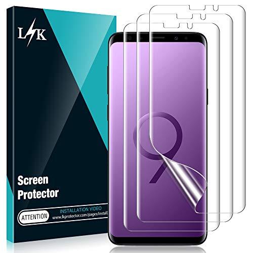 L K 3 Stücke Schutzfolie für Samsung Galaxy S9 Plus, Galaxy S9 Plus Folie Displayschutzfolie [Blasenfreie] [Fingerabdruck-ID unterstützen] [Einfache Installation Zubehör] Klar HD Weich Folie