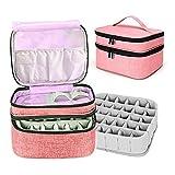 Bolsa de almacenamiento para esmalte de uñas, funda extraíble de 2 capas, para bolsa de almacenamiento de 24 botellas de aceite esencial para esmalte de uñas y manicura (rosa)