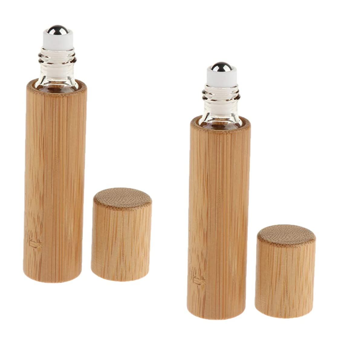 二層彼らのもの添付Fenteer ロールオンボトル 小分けボトル 詰め替え 精油瓶 香水ボトル 竹 空容器 携带便利 10ml 2個入