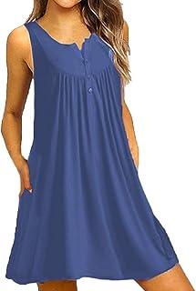 女性のOネックドレスカジュアルドレスボタンワンピースノースリーブのドレス緩いドレスのパーティードレスミニドレス大きいサイズのドレス