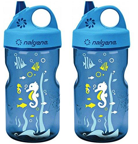 Nalgene Grip 'n Gulp Kids Travel Water Bottle - 12 Ounce - Blue Seahorses - 2 Pack