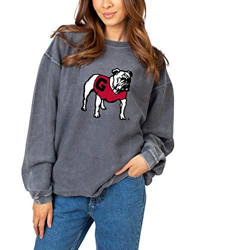 NCAA Georgia Bulldogs Womens Corded Crew Sweatshirt, Charcoal, Large