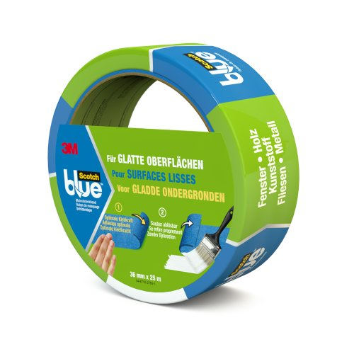 ScotchBlue 20933625 Malerabdeckband (Malerkrepp) optimale Klebkraft auf glatten Oberflächen, 36 mm x 25 m, blau