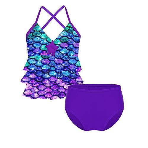 MSemis Kinder Mädchen Bikini Set Meerjungfrau Bademode Badeanzug Tankini Set Fischschuppen Bikini Tops + Badeshorts Gr. 98-164 Violett 164