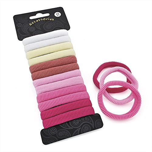 Set of 12 Soft Endless Snag Free Pink Tone Ponios Hair Elastics Bobbles Bands Donuts