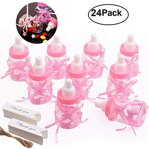 Gudotra 125 Packs 24pcs Biberones Bautizo Plastico Rosa Botella Dulces + 100pcs Tarjetas Blanco + 10 Metros Cuerda de Yute para Recuerdo de Bautizo Baby Shower