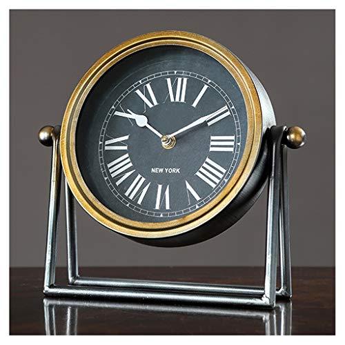 kerryshop Reloj Despertador Americano Retro Pequeño Mesa Reloj Hogar Arte Art Desktop Reloj Sala de Estar Decoración Adornos Dormitorio Escritorio Simple Antique Reloj 7 Pulgadas Reloj de Escritorio