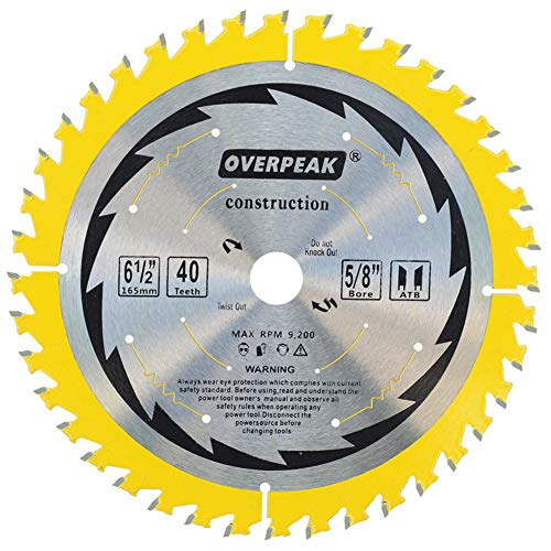 OVERPEAK 6-1/2 Inch Circular Saw Blade, 40 Tooth ATB General Purpose Ripping Crosscutting Carbide Saw Blades, 5/8 Arbor and PermaShield Coating