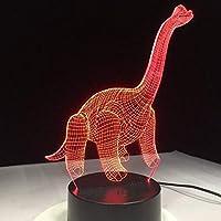 3Dナイトライトイリュージョンランプ恐竜ノベルティランパーダアニマルランプカラフルな雰囲気タッチセンサーアクリル彫刻クリエイティブ7色リモコン付き目の錯覚ライト