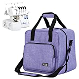 HOMEST Serger Carrying Case, Universal Overlock Sewing Machine Tote Bag with Shoulder Strap & Strong Handles, Compatible with Brother, Singer, Juki, Purple (Patent Design)