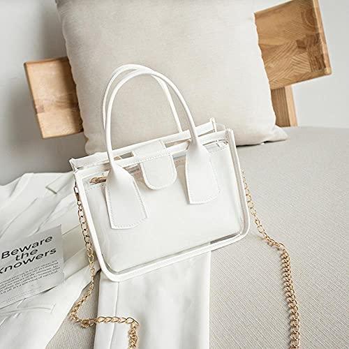 Bolso transparente de gelatina de tendencia a la moda para mujer, bolso cruzado sólido de PVC, PU, cuero, cremallera, bolsos compuestos, cadena, bolso con correa para el hombro, blanco