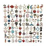 STKJ 100 Piezas Surtidas De Esmalte De Aleación, Colgante De Amuleto De Fruta De Estrella De Animal DIY para Collar, Pulsera