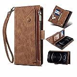Motorola Moto G60s Wallet Case for Motorola Moto G60s Crossbody Case Flip Folio Leather Cover Zipper Wallet with Card Holder Kickstand Money Pocket & Wriststrap Book Fold Case Brown