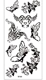 Mariposa Hada Flor Brazo Tatuaje Temporal Pegatinas Negro Impermeable Cuerpo Para Hombre Mujer Festival Moda Falso Cuerpo Adulto 19x9cm 10pcs