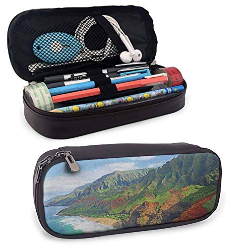 Hawaiian Premium Carrying Case, Na Pali Coast Kauai Hawaii Seashore Greenery Adventurous Journey Landscape for Student Office College Middle School High School Green Redwood Blue