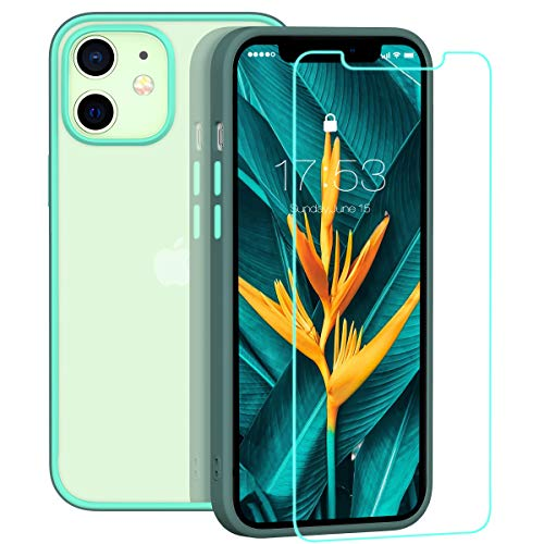 zelaxy Case Compatible with iPhone 12 Mini with Screen Protector,Protective Anti-Slip Anti-Yellow Clear Transparent Case with Colorful Bumper for iPhone 12 Mini 5.4 inch (Gray)