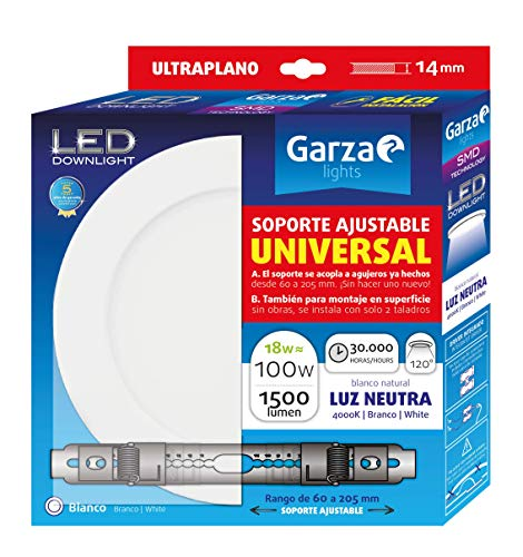Garza - Downlight LED con soporte ajustable universal para superficie o empotrable en techo