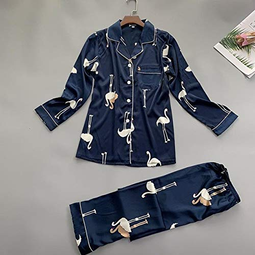 JFCDB Zomer pyjama,Zomer Dames Overhemd Broek Pyjama Sets Nachtkleding Dame Huiskleding Twee stukken Nachthemd Pak Kamerjas Badjas Sleepshirts M-XL, Marineblauw, L