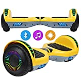 SISGAD Hoverboard con Ruedas de 6.5', Eléctrico Self-Balancing Overboard Self Blance Scooter 2x300W con LED Luces, Bluetooth (amarillo2-bluetooth)