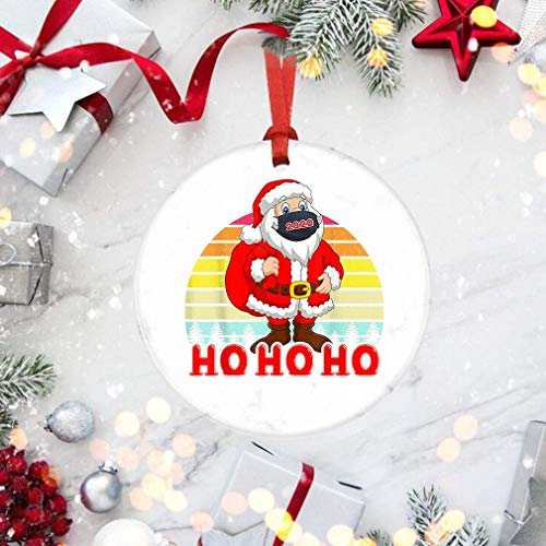 Santa with Face Mask Christmas 2020 Family Pajamas Xmas Ornaments | Friends Quarantine Gifts | Social Distancing Funny Novelty | Friends Quarantine Gifts