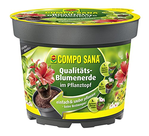 COMPO SANA® Qualitäts-Blumenerde im Pflanztopf, hochwertige Universalerde im Topf zum einfachen Bepflanzen und Umtopfen, 4,8 L