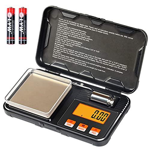 YYQ Mini Bilancia Digitale Professionale, Portatile Bilancia Cucina 200g x 0,01g, Tascabile di Precisione, Peso di Calibrazione 50g, 6 Unità, Funzione di Tara e Conteggio (2 batterie incluse)