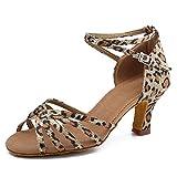 HIPPOSEUS Zapatos de Baile Latino para Mujer Zapatos Leopardo de Punta Abierta para salón de Baile Zapatos de Baile de Salsa Latina,37 EU