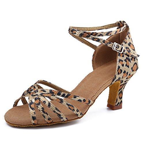 HIPPOSEUS Zapatos de Baile Latino para Mujer Zapatos Leopardo de Punta Abierta...