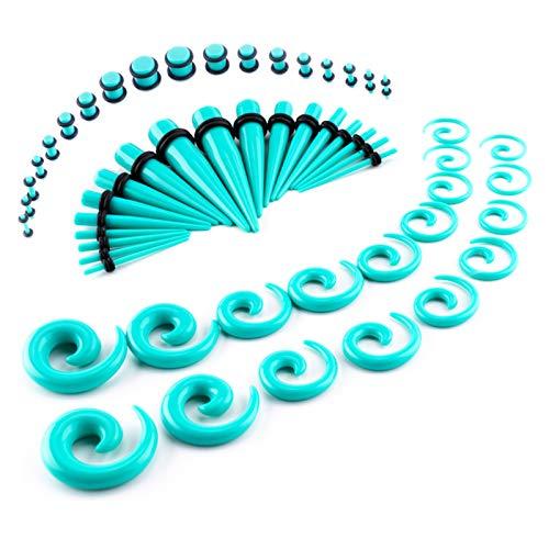 LLGL-EU - Kit di dilatatori per orecchie, 54 pezzi, 14G-00G, in acrilico, con scatola Eva, colore: turchese, cod. LLGLEU0024
