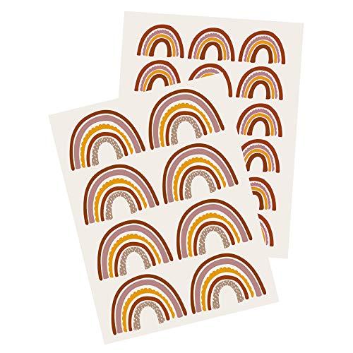 Yabaduu Y004 Regenbogen Wandtattoo Wandsticker Aufkleber für Kinderzimmer Babyzimmer (Erdtöne)