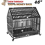 HEIMENT Heavy Duty 46 inches Dog Cage Crate Roof Kennel Playpen Large Strong Metal for Medium and Large Dogs with Lock and 4 Lockable Wheels