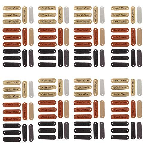 NO Ręcznie robione etykiety skórzane, 120 sztuk, ręcznie robione etykiety skórzane, ręcznie robione etykiety na ubranie, akcesoria do szycia, DIY, do sukienek, spodni, kapelusza, szalika (żółta czekolada)