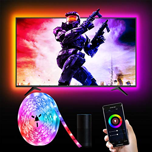 Smart 3M LED Streifen, Etersky RGB LED Strip TV Hintergrundbeleuchtung 5050 LED Band, App Steuerbar, Kompatibel mit Alexa Google Assistant, Sync mit Musik Lichtband für 40-60