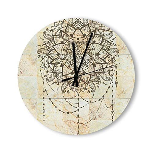 Rustic Country Lotus Mandala on Ceramic Tiles - Reloj de pared (redondo, 30 cm), diseño de flor de loto