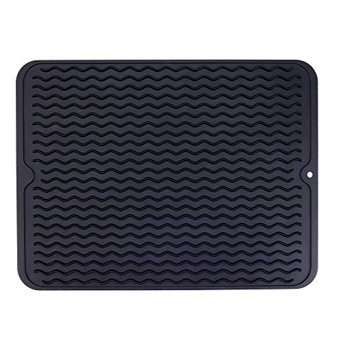 Piduules Eco-friendly Silicone Dish Drying Mat 15.8' x 12' Large Reusable Non-slipping and Heat Resistant Dish Quick Drying Pad, Dishwasher Safe (Black Large)