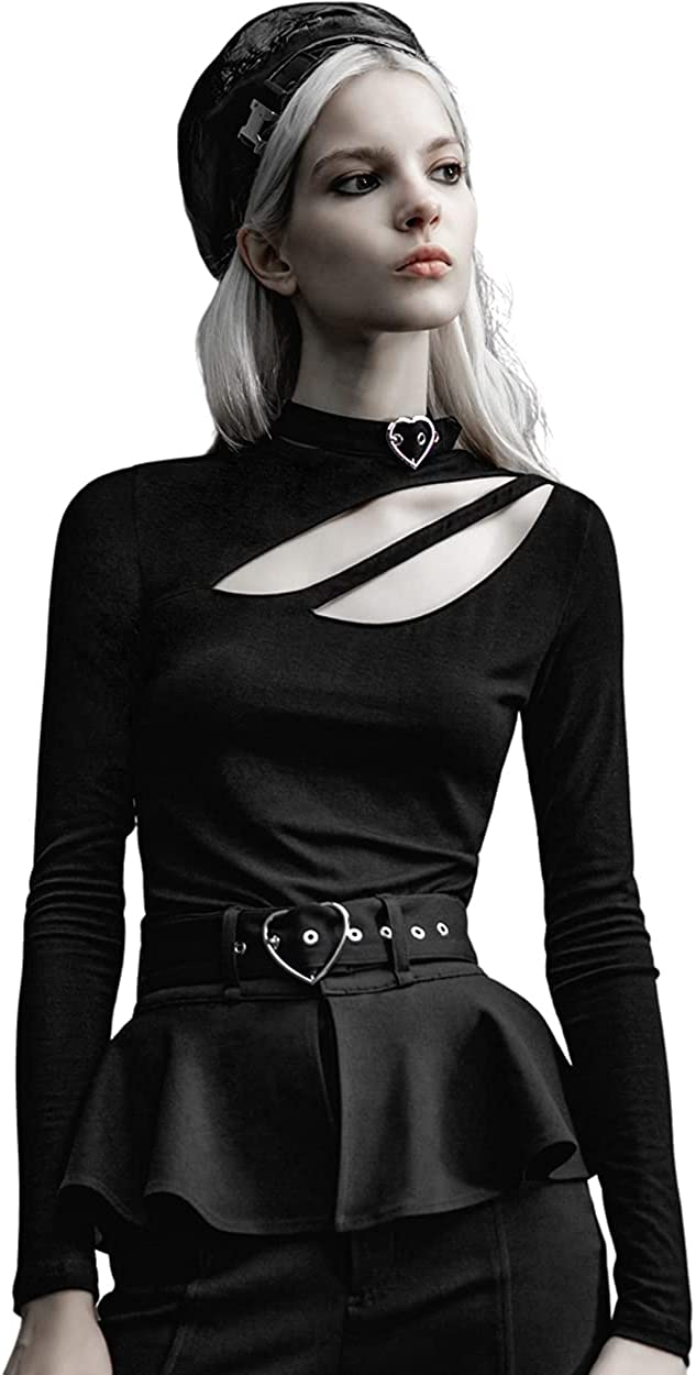 PUNK RAVE DAILY Women's Sexy Long Sleeve One Shoulder T-Shirt Cutout Tunics Fashion Slim Tops