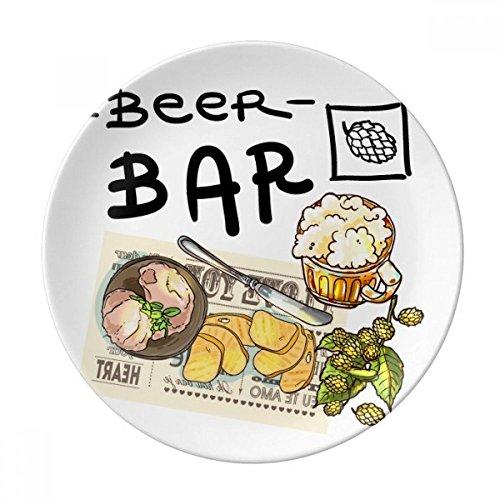 DIYthinker Steak Bar France Toast Bière décorative en Porcelaine Assiette à Dessert 8 Pouces Dîner Accueil Cadeau 21cm diamètre Multicolor